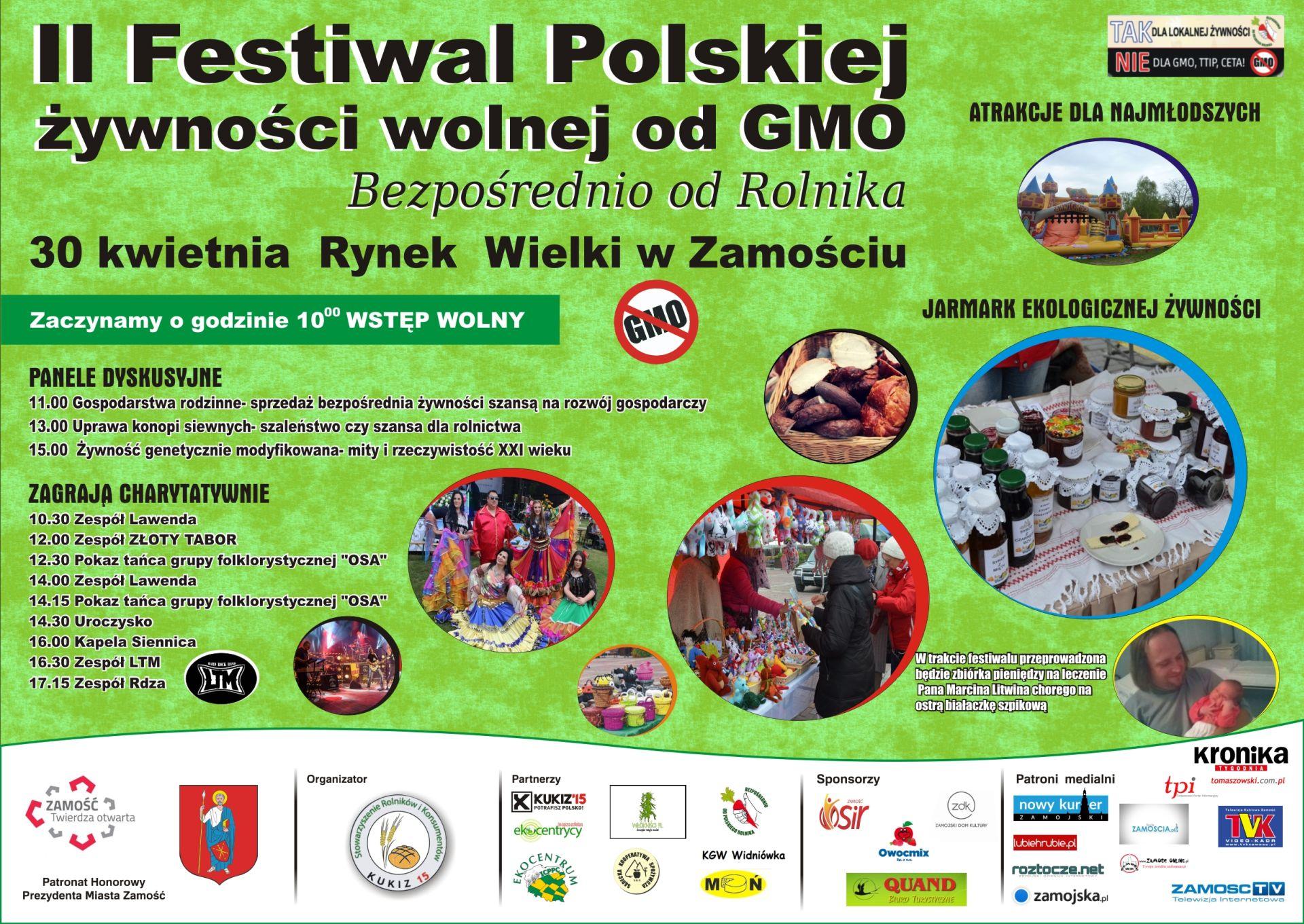 Plakat II festiwal żywnośći wolnej od GMO